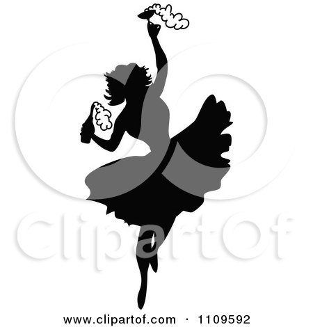 Clipart Silhouetted Ballerina Dancing With Champagne - Royalty Free Vector Illustration by Prawny Vintage