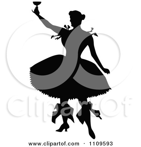 Clipart Silhouetted Ballerina Toasting - Royalty Free Vector Illustration by Prawny Vintage