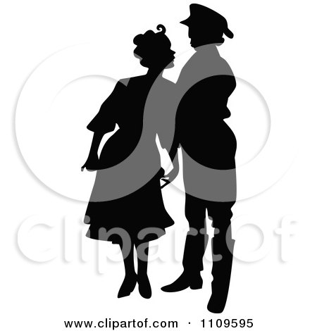Clipart Silhouetted Couple Leaning In For A Kiss - Royalty Free Vector Illustration by Prawny Vintage