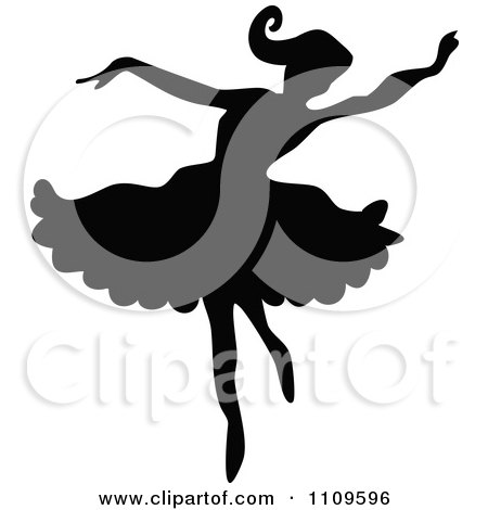 Clipart Silhouetted Ballerina Dancing 1 - Royalty Free Vector Illustration by Prawny Vintage
