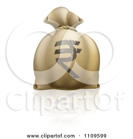 Clipart Money Bag With A Rupee Symbol And Reflection - Royalty Free Vector Illustration by AtStockIllustration