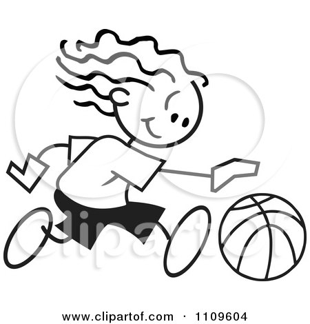 Clipart Black And White Sticker Basketball Player Girl Dribbling - Royalty Free Vector Illustration by Johnny Sajem