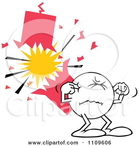 Clipart Moodie Character Plugging His Ears By A Firecracker - Royalty Free Vector Illustration by Johnny Sajem