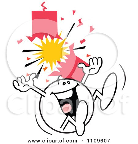 Clipart Happy Moodie Character Jumping By A Firecracker - Royalty Free Vector Illustration by Johnny Sajem
