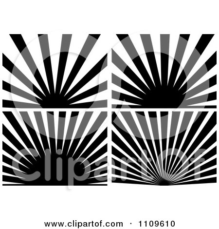Clipart Black And White Sun And Rays Backgrounds - Royalty Free Vector Illustration by dero