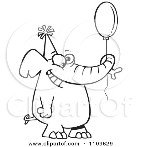 Clipart Outlined Happy Birthday Elephant Holding A Balloon - Royalty Free Vector Illustration by toonaday