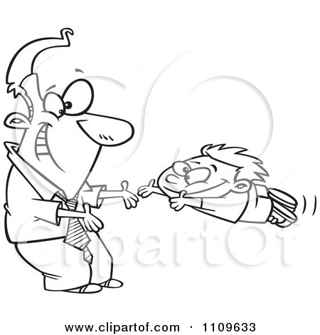 Clipart Outlined Father Greeting His Excited Son With Open Arms - Royalty Free Vector Illustration by toonaday