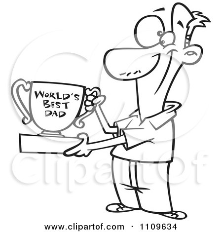 Clipart Outlined Father Proudly Holding A Worlds Best Dad Trophy Cup