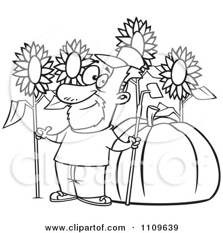 Clipart Outlined Green Thumb Farmer With Sunflowers And A Giant Pumpkin - Royalty Free Vector Illustration by toonaday