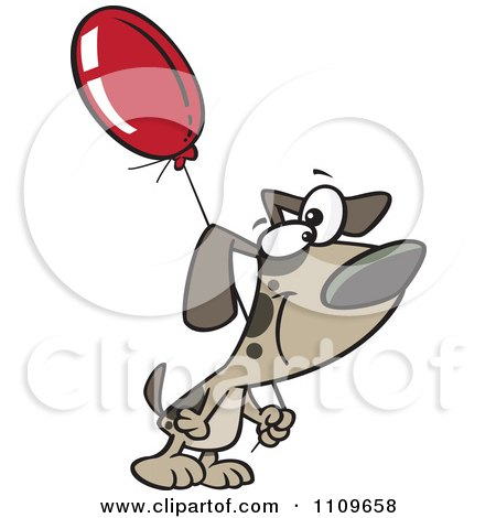 Clipart Dog Carrying A Birthday Balloon - Royalty Free Vector Illustration by toonaday