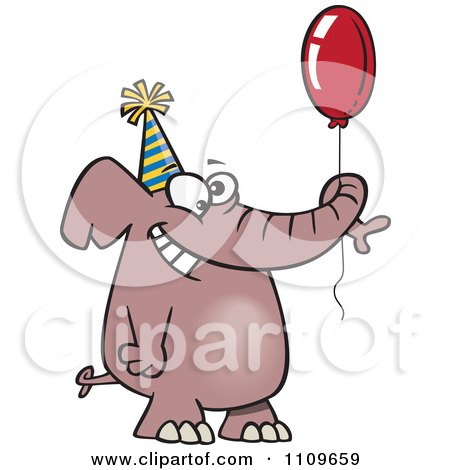 Clipart Happy Birthday Elephant Holding A Balloon - Royalty Free Vector Illustration by toonaday