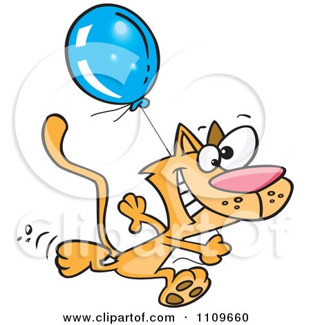 Clipart Happy Cat Running With A Birthday Balloon - Royalty Free Vector Illustration by toonaday