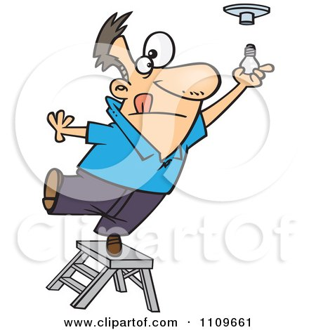 Clipart Man Standing On The Top Of A Ladder And Installing A Light Bulb - Royalty Free Vector Illustration by toonaday