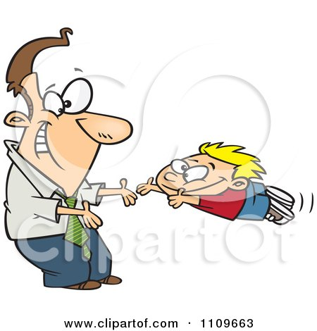 Clipart Father Greeting His Excited Son With Open Arms - Royalty Free Vector Illustration by toonaday