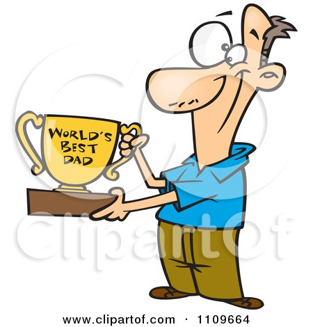 Clipart Father Proudly Holding A Worlds Best Dad Trophy Cup - Royalty Free Vector Illustration by toonaday