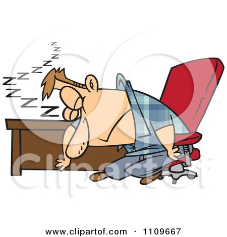 Clipart Exhausted Man Dozing At His Desk - Royalty Free Vector Illustration by toonaday
