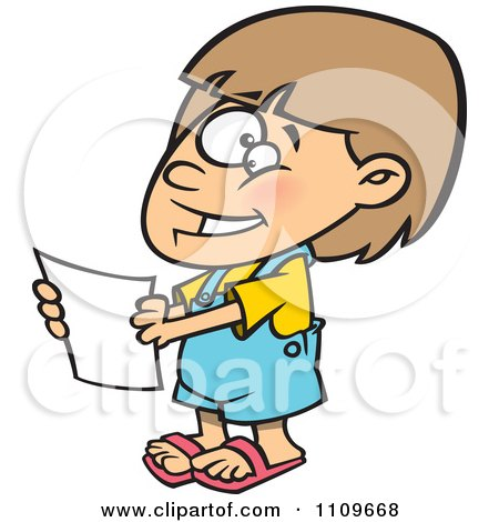 Clipart Happy Girl Holding A Report - Royalty Free Vector Illustration by toonaday
