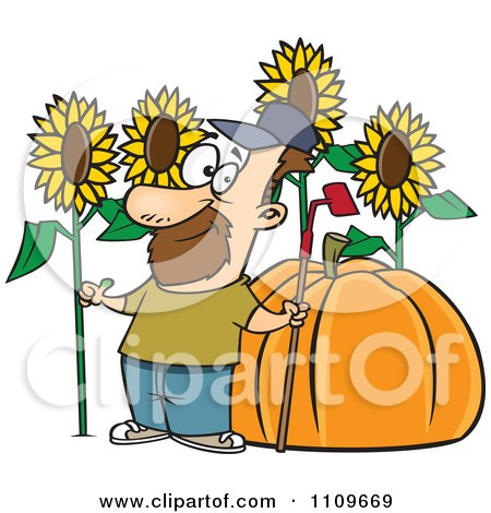 Clipart Green Thumb Farmer With Sunflowers And A Giant Pumpkin - Royalty Free Vector Illustration by toonaday