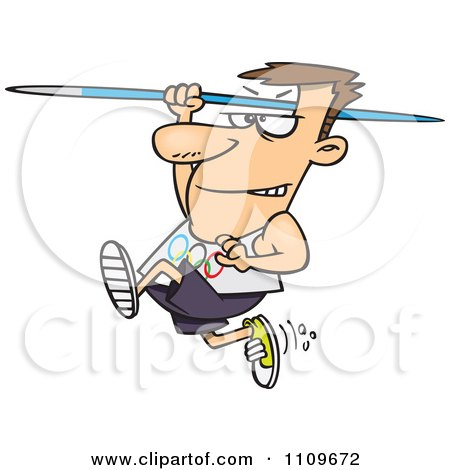 Clipart Olympics Track And Field Javelin Thrower Man - Royalty Free Vector Illustration by toonaday