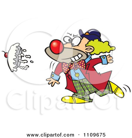 Clipart Clown Throwing A Pie Royalty Free Vector Illustration