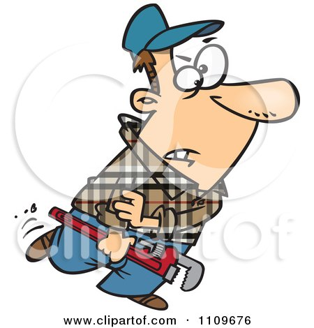 Plumber Carrying A Wrench And Rolling Up His Sleeves Posters, Art Prints