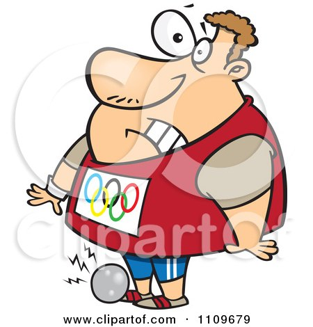 Clipart Olympic Track And Field Shotput Athlete Man Dropping The Ball On His Foot - Royalty Free Vector Illustration by toonaday