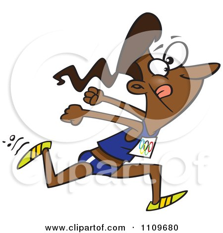 Clipart Black Track And Field Woman Sprinting - Royalty Free Vector Illustration by toonaday