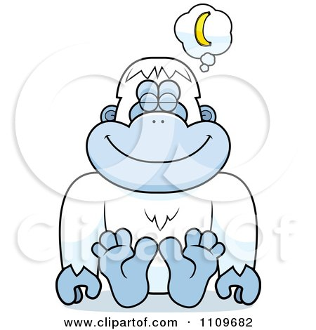 Clipart Yeti Abominable Snowman Monkey Daydreaming Of Bananas - Royalty Free Vector Illustration by Cory Thoman