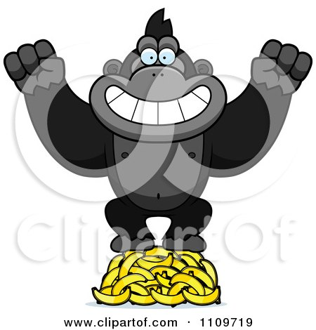Clipart Gorilla Standing On Bananas - Royalty Free Vector Illustration by Cory Thoman