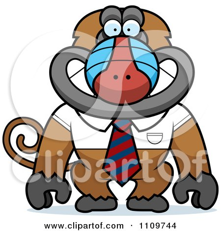 Clipart Baboon Monkey In A Shirt And Tie - Royalty Free Vector Illustration by Cory Thoman