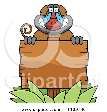 Clipart Baboon Monkey Behind A Wooden Sign - Royalty Free Vector Illustration by Cory Thoman