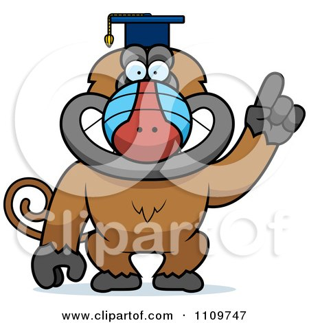 Clipart Baboon Monkey Wearing A Graduation Cap And Holding A Finger Up - Royalty Free Vector Illustration by Cory Thoman