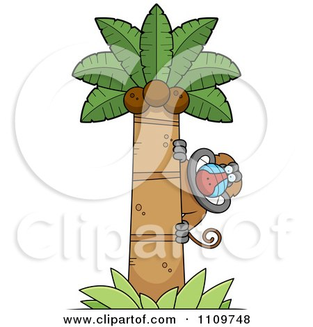 Clipart Baboon Monkey Looking Around A Coconut Palm Tree - Royalty Free Vector Illustration by Cory Thoman