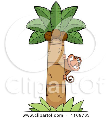 Monkey hanging on palm tree stock vector clipart monkey hanging on