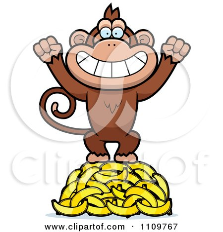 Clipart Monkey Standing On Bananas - Royalty Free Vector Illustration by Cory Thoman