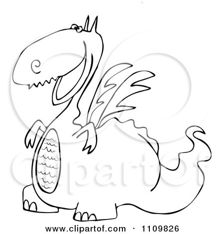Clipart Outlined Cartoon Happy Dragon Grinning - Royalty Free Vector Illustration by djart