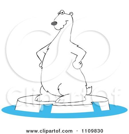 Cartoon Polar Bear Standing On An Ice Berg Posters, Art Prints