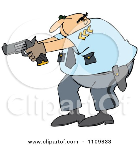 Clipart Cartoon White Male Police Officer Aiming His Gun - Royalty Free Vector Illustration by djart