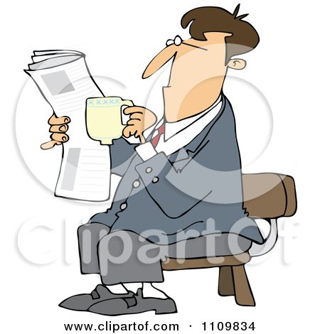 And Reading A Newspaper Royalty Free Vector Clipart By Dennis Cox
