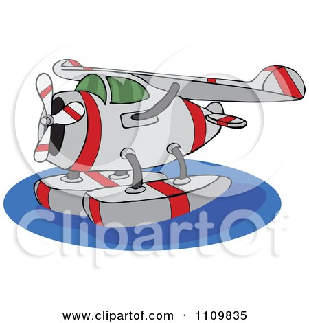 Clipart Cartoon Seaplane On Water - Royalty Free Vector Illustration by djart