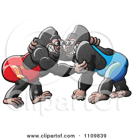 Clipart Athletic Gorillas Wrestling - Royalty Free Vector Illustration by Zooco