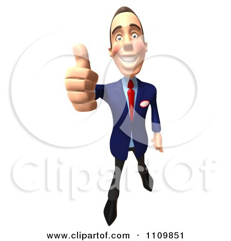 Clipart 3d Mechanic Man Holding A Thumb Up 2 - Royalty Free CGI Illustration by Julos