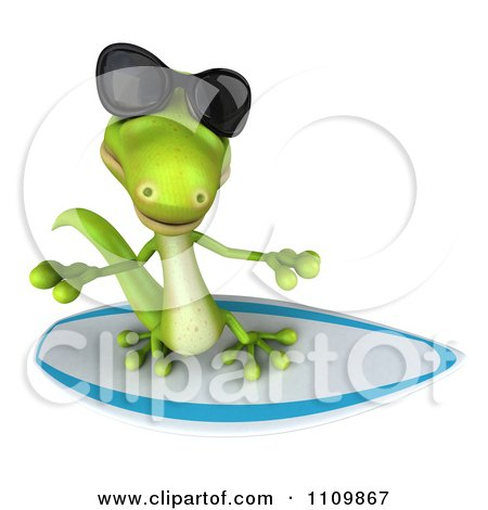 Clipart 3d Green Gecko Wearing Shades And Surfing 2 - Royalty Free CGI Illustration by Julos