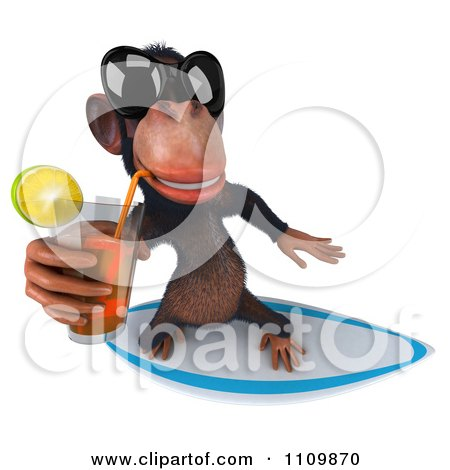 Clipart 3d Chimp Wearing Shades Sipping Tea And Surfing 3 - Royalty Free CGI Illustration by Julos