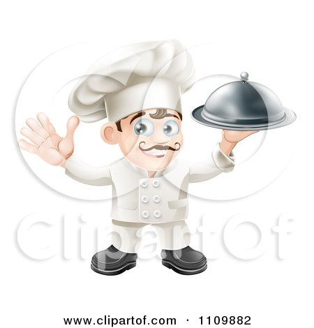 Clipart Happy Chef Waving And Holding Up A Platter - Royalty Free Vector Illustration by AtStockIllustration