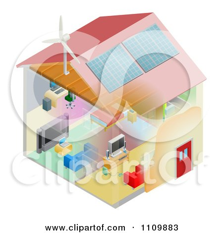 Clipart Energy Efficient Home With Insulation Wind Turbine And Solar Panels - Royalty Free Vector Illustration by AtStockIllustration