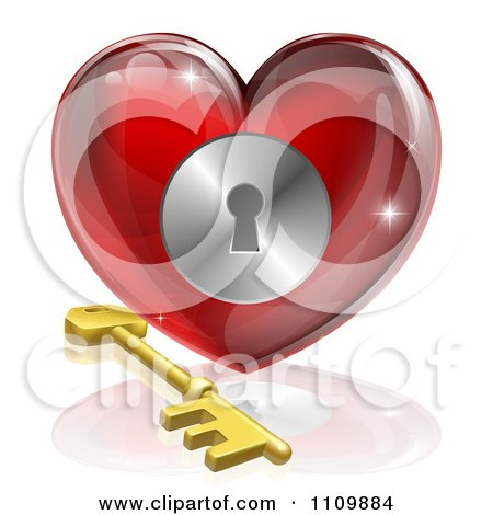 Clipart 3d Red Shiny Heart And Gold Key With A Keyhole - Royalty Free Vector Illustration by AtStockIllustration