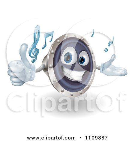 Clipart 3d Happy Speaker Mascot Holding A Thumb Up And Playing Tunes - Royalty Free Vector Illustration by AtStockIllustration