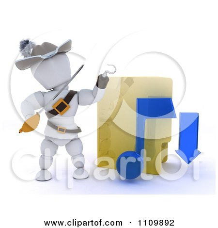 Clipart 3d Illegal Music Download Pirate White Character With A Folder - Royalty Free CGI Illustration by KJ Pargeter