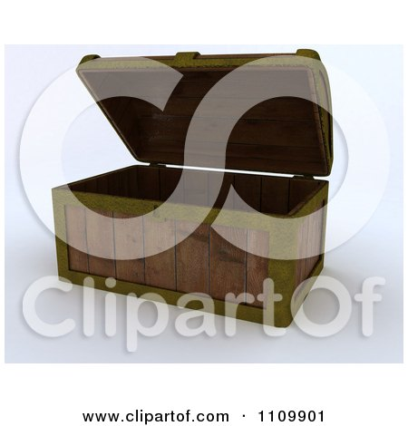 Clipart 3d Wood Pirate Treasure Chest - Royalty Free CGI Illustration by KJ Pargeter